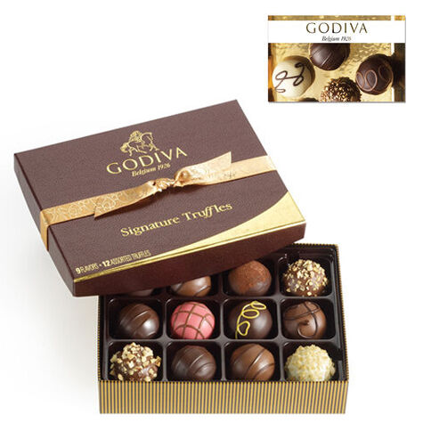 $25 GODIVA Gift Card and 12 pc. Signature Truffle Gift Box