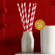 Striped Drinking Straws, Set of 25