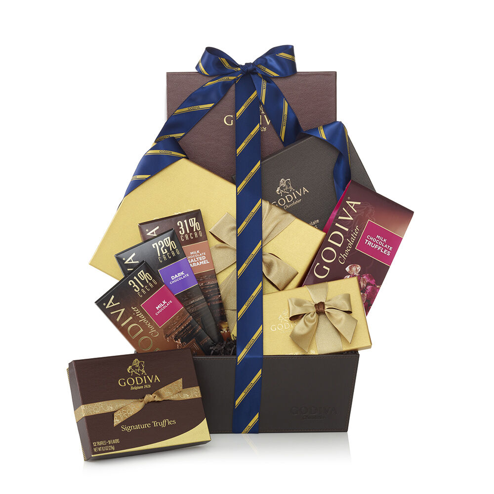 Chocolate Connoisseur Gift Basket - Striped Tie