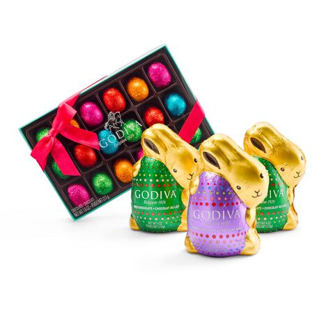 Assorted Chocolate Bunnies, Foil Wrapped, and Chocolate Egg Gift Box
