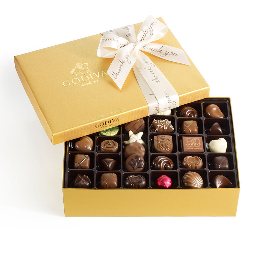 Assorted Chocolate Gold Gift Box, Thank You Ribbon, 70 pc.