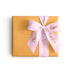 Assorted Chocolate Gold Gift Box, Personalized Pink Ribbon, 19 pc.