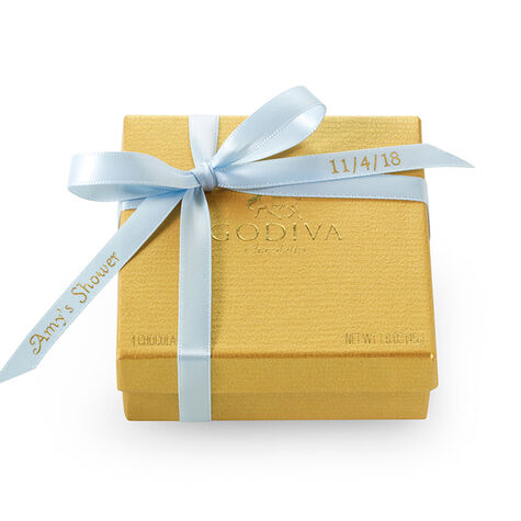 Assorted Chocolate Gold Favor, Personalized Light Blue Ribbon, 4 pc.