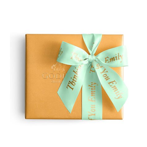 Assorted Chocolate Gold Gift Box, Personalized Sage Ribbon, 19 pc.