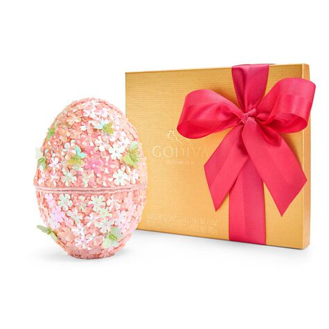 Beaded Egg & Assorted Chocolate Gold Gift Box, Spring Ribbon, 19 pc.