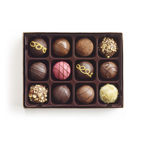 Signature Truffles Gift Box, Personalized Forest Green Ribbon, 12 pc.
