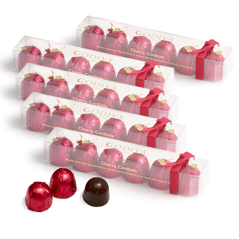 Chocolate Cherry Cordials, Set of 5, 6 pc.  Each