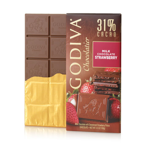 Milk Chocolate Strawberry Bar, 31% Cocoa, 3.5 oz.