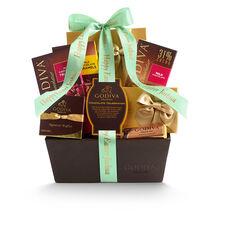 Chocolate Celebration Gift Basket, Personalized Sage Ribbon