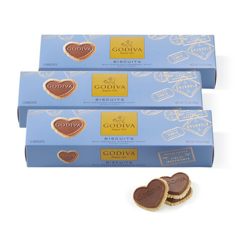 Strawberry Heart Biscuits, Set of 3, 12 pc each