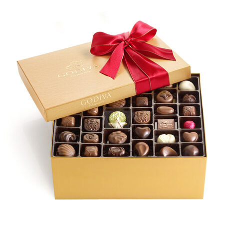 Assorted Chocolate Gold Gift Box, Red Holiday Ribbon, 140 pc.