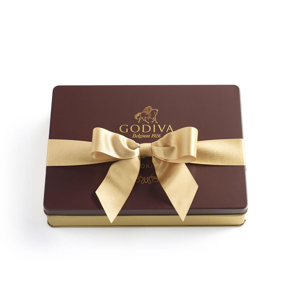 Cookie Tin, Gold Ribbon, 32 pc.
