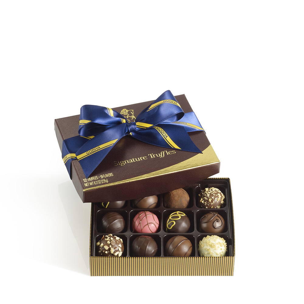 12 pc. Signature Chocolate Truffles Gift Box - Striped Tie