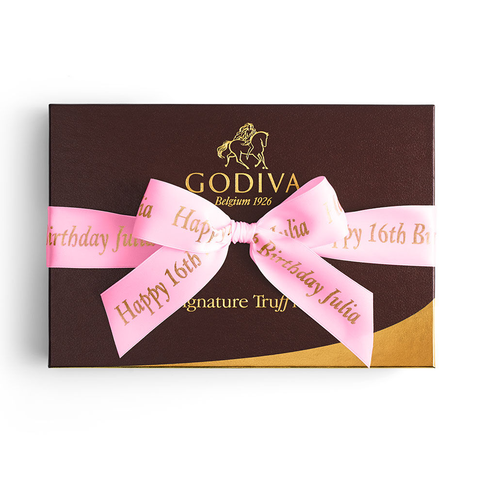 Signature Truffles Gift Box, Personalized Hot Pink Ribbon, 24 pc.