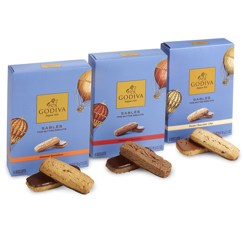 Asstd Chocolate Sables Biscuit Sampler, Set of 3, 6 pc. each