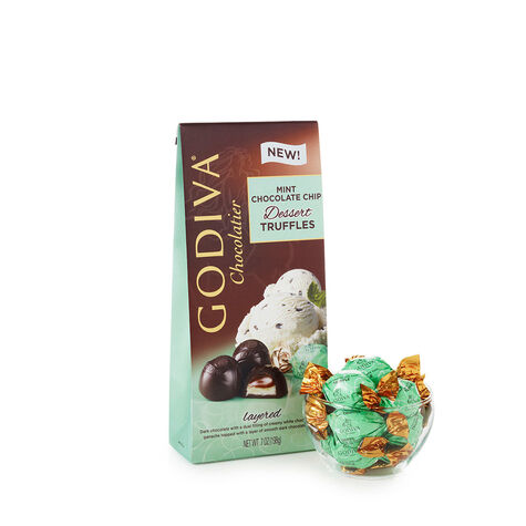 Mint Chocolate Chip Truffles, Wrapped, Set of 36