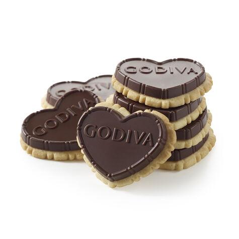 Dark Chocolate Heart-Shaped Biscuit, 12 pc.