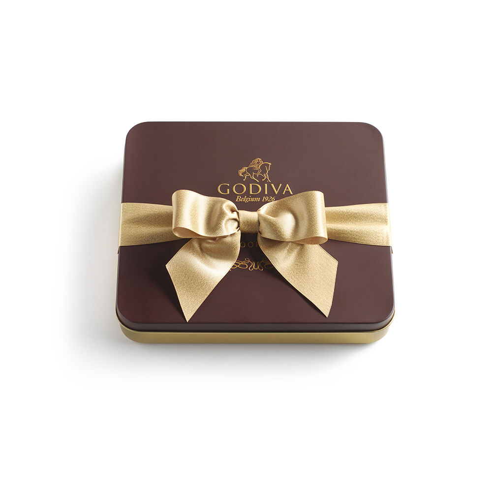 Cookie Tin - Gold Ribbon, 18 pc.