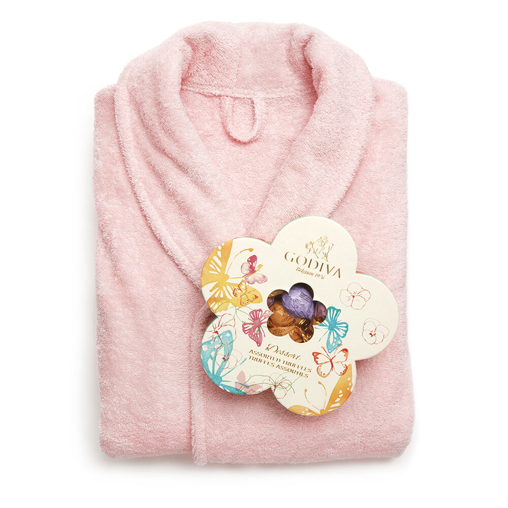 Pink Turkish Cotton Robe & Assorted Truffles Spring Gift Box, Wrapped, 32 pc.