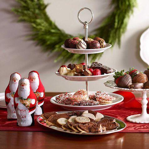 Milk Chocolate Santa, Foil Wrapped, Set of 4