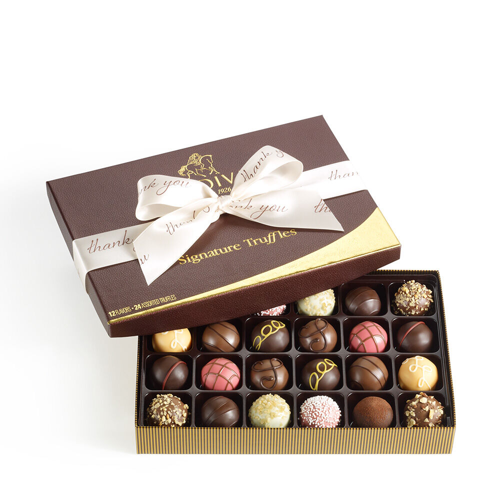 Signature Truffles Gift Box, Thank You Ribbon, 24 pc.