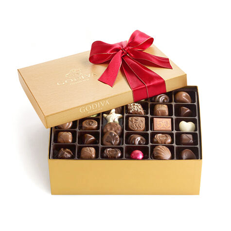 Assorted Chocolate Gold Gift Box, Red Holiday Ribbon, 105 pc.