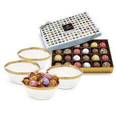 Gold Trim Bowls & Chocolate Patisserie Dessert Truffles Gift Set