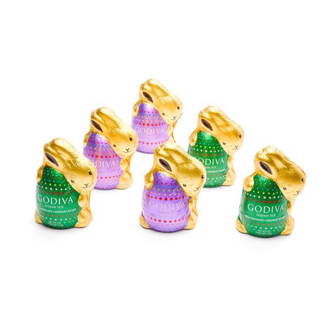 Milk and Dark Chocolate Solid Bunnies, Foil Wrapped, Set of 6, 4 oz. each