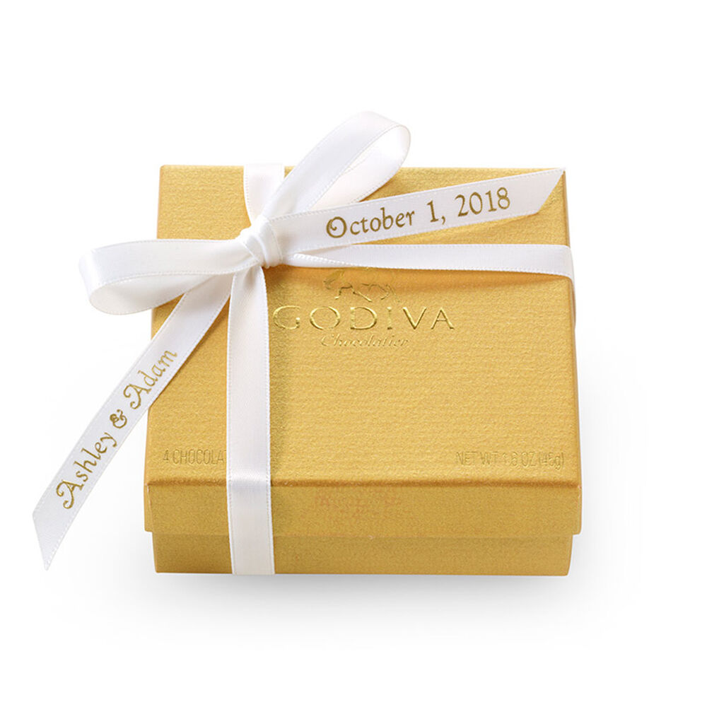 Assorted Chocolate Gold Favor,  Personalized White Ribbon, 4 pc.