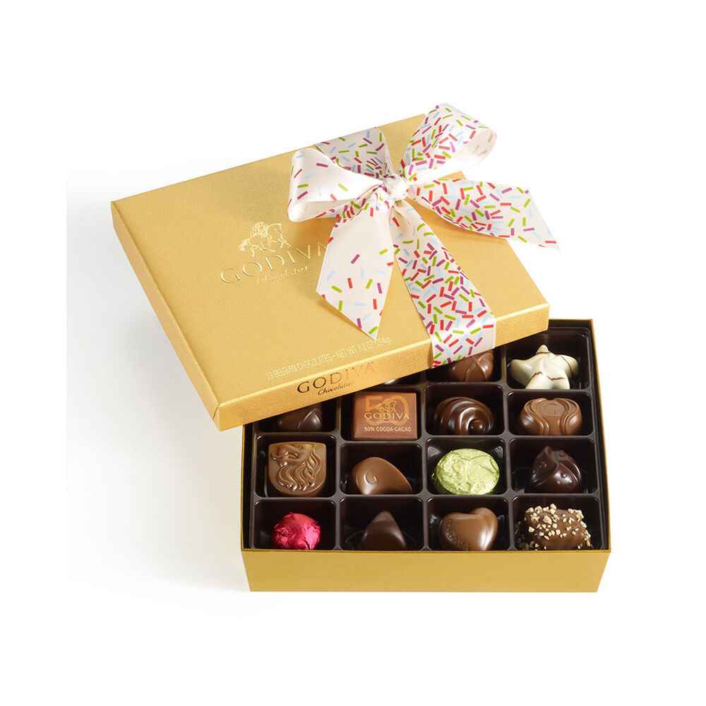 Assorted Chocolate Gold Gift Box, Celebration Ribbon, 19 pc.