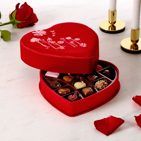 Valentine's Day Satin Embroidered Heart Chocolate Gift Box, 14 pc.