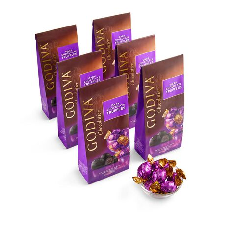 Dark Chocolate Truffles, Individually Wrapped Large Bag, Set of 6