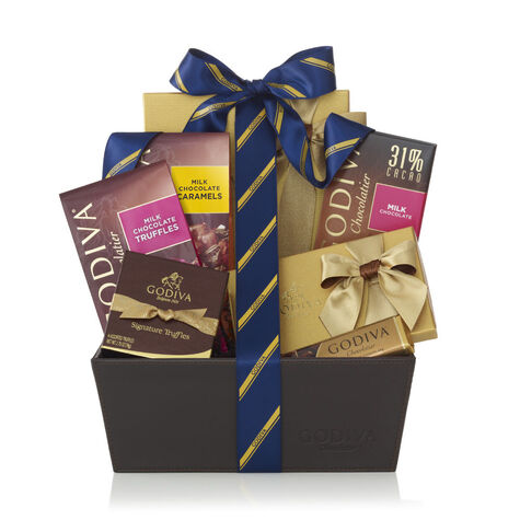 Chocolate Celebration Gift Basket, Striped Tie Ribbon