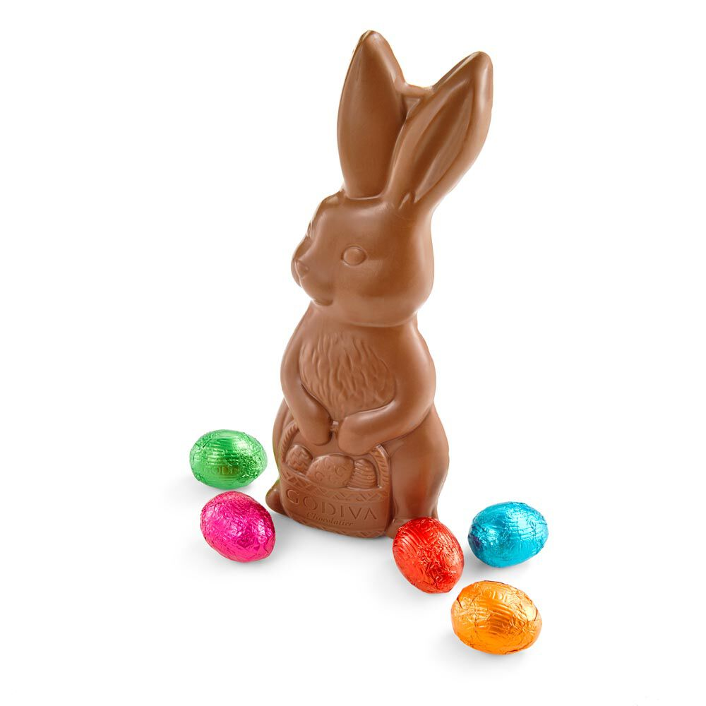 Solid Milk Chocolate Bunny with Foil Wrapped Chocolate Eggs, Set of 3