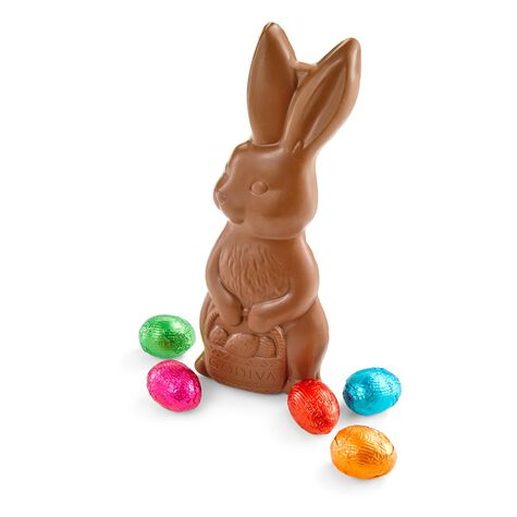 Milk Chocolate Solid Bunny with Foil Eggs
