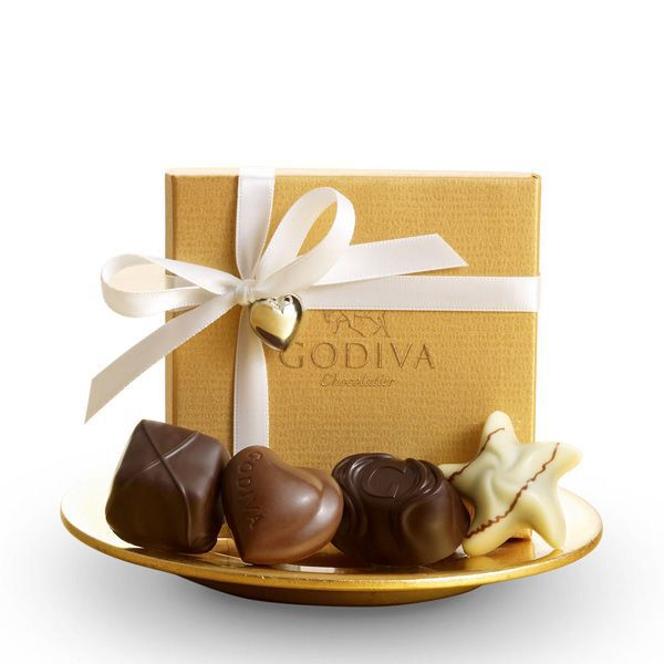 Assorted Chocolate Gold Favor, White Ribbon with Silver Charm, 4 pc