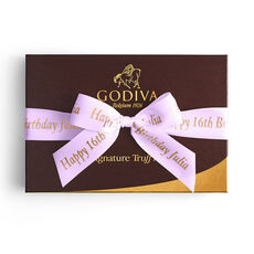 Signature Truffles Gift Box, Personalized Light Orchid Ribbon, 12 pc.