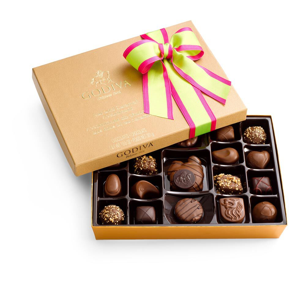 Nut and Caramel Chocolate Gift Box, Limited Edition Ribbon, 19 pc.