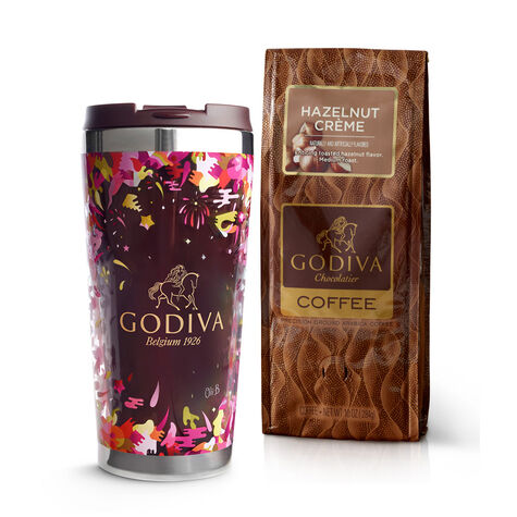 Godiva Tumbler with Hazelnut Coffee, Ground 10 oz.