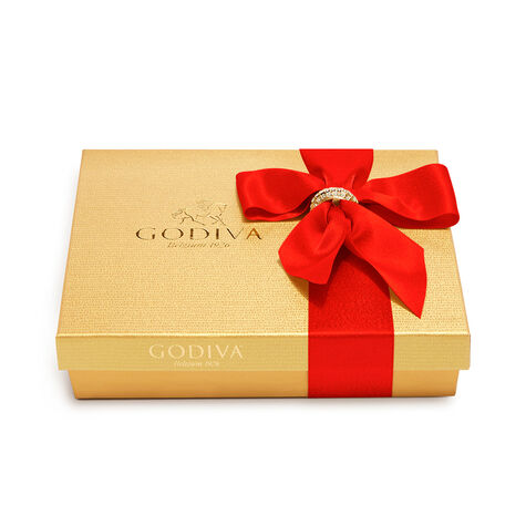 Assorted Chocolate Gold Gift Box, Red Ribbon with Charm, 19 pc.