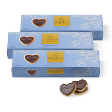 Dark Chocolate Heart Biscuit, Set of 3, 12 pc each