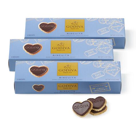 Dark Chocolate Heart Biscuit, Set of 3, 12 pc each