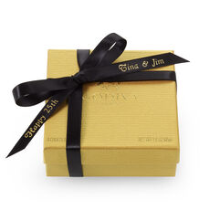 Assorted Chocolate Gold Favor, Personalized Black Ribbon, 4 pc.