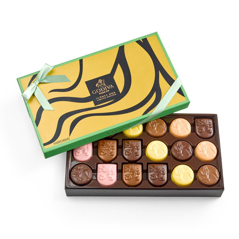 Limited Edition Assorted Chocolate Gold Icons Gift Box, 18 pc.