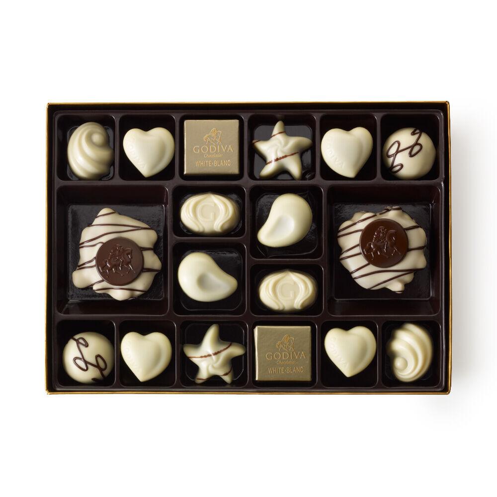White Chocolate Assortment Gift Box, Classic Ribbon, 24 pc.