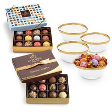 Set of 4 Gold Trim Bowls with Dessert Patisserie Truffles, 12 pc. & Signature Truffles, 24 pc.