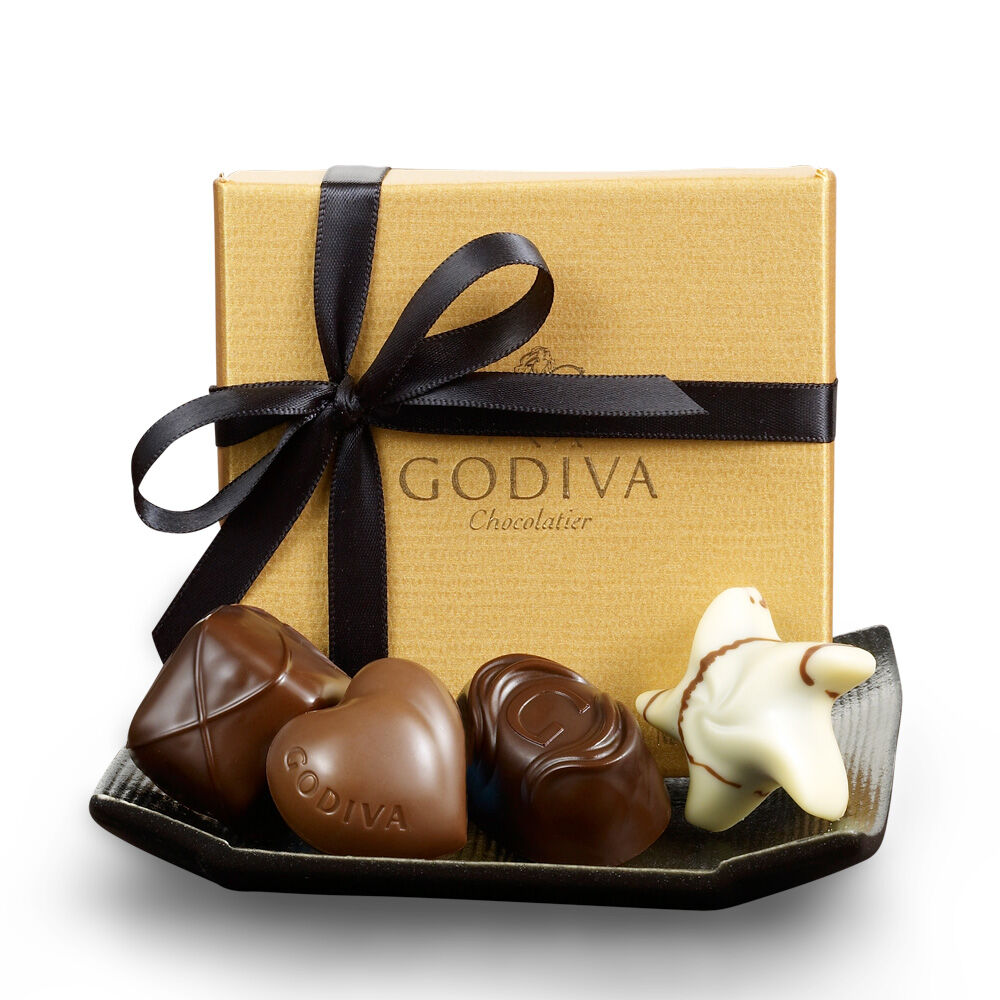 Assorted Chocolate Gold Favor, Black Ribbon, 4 pc