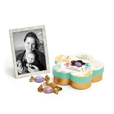 Mother of Pearl Shell Picture Frame, 5x7 with Assorted Chocolate Flower Gift Box, 32 pc.