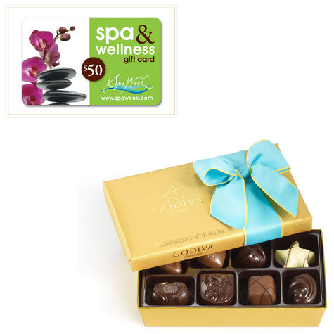 8 pc. Spring Ballotin and $50 Spa & Wellness Gift Card by Spa Week®
