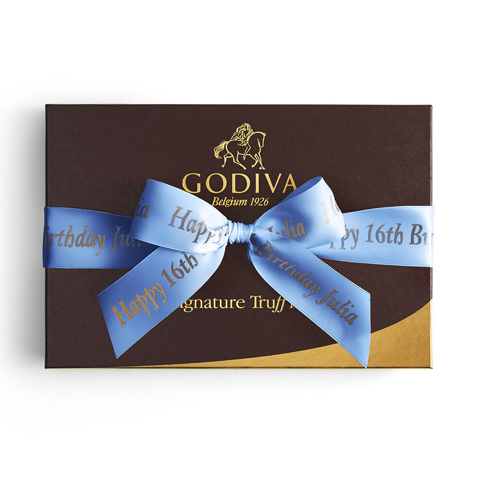 Signature Truffles Gift Box, Personalized Royal Blue Ribbon, 24 pc.
